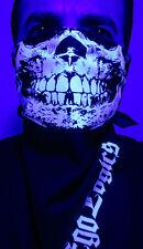 BLUE GLOW IN THE DARK SKULL NAVY BANDANA HALF FACE MASK RAVE UV BLACKLIGHT PSY