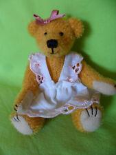 Künstlerteddy Miniaturbär Teddybärchen mit Kleidchen Martin 13 cm