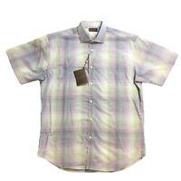 Thomas Dean Mens Button Down Shirt M L XL Purple Plaid NWT $110