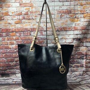 Michael Kors Black Patent Leather Jet Set Handbag Tote shoulder bag large purse