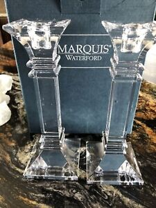 """Waterford Marquis Treviso Crystal Candlestick 8"""" Pair"""