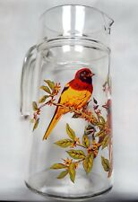 Beautiful Vintage Clear Glass Water Jug With Bird And Branch Decoration
