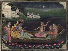 Krishna Radha Art Handpainted Hindu Folk Art Image Painting of Krishn and Gopis