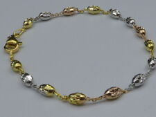 "Tri Color 11"" Ankle Bracelet w/Oval Beads- Gold,Rose, Sterling Silver Italy 925"