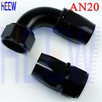 AN20 20AN AN -20 0+90 Degree Fuel Swivel Fittings Hose End Oil Adaptor Black 2PC