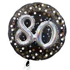 XXL BALLON mt 3D Effekt Glitzer-Folieballon Set zum 80. Geburtstag
