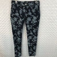 American Eagle Womens Sz 2 Blue Floral Skinny Jeans Stretch Jeggings