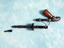 """Extra-long 18"""" Carved mother of pearl Ebony Antique Stone jewel Smoking pipe"""