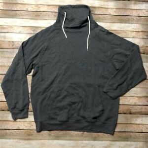 Univibe Mens Large Gray Front Pocket Drawstring Mockneck Pullover
