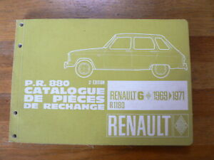 RENAULT 6 CATALOGUE DE PIECES DE RECHANGE 1969-1971 R1180 AUTO CAR FRENCH