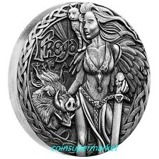 Australia 2017 Tuvalu Norse Goddesses Freya 2oz Silver Antiqued High Relief Coin