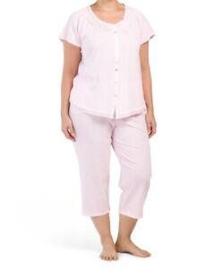 NWT ARIA Pink Drawstring Capri Cotton Blend Pajamas Plus Size 1X - Retail $60.00