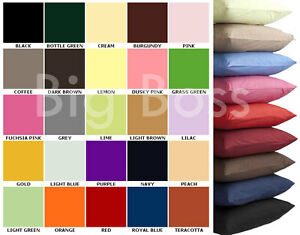 Plain Dyed Pillowcases Covers Single Pairs Polycotton Bedroom Home Decor Colors