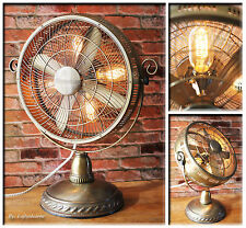 Industrial Antique Brass Design Accents Re-purposed Steampunk Electric Fan Lamp