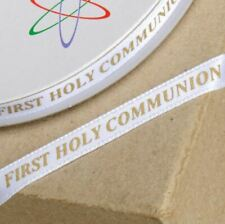 1st HOLY COMMUNION WHITE & GOLD RIBBON 6mm x 25 METERS FULL REEL CRAFT