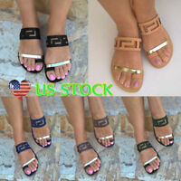 Women Casual Flat Slides Sandals Comfy Flip Flop Toe Post Slippers US Sizes 6-10