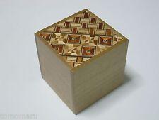 By OKA 54mm Cube 2steps Yosegi Natural wood Japanese Wood Puzzle Box Brand NEW