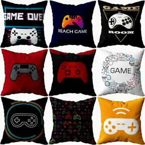 Gamer Game Controller Joypad Joystick Cushion Cover Red Plaid Throw Pillow Cover
