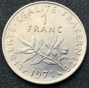 1971   France  1 Franc BU    Nickel Coin     #K331