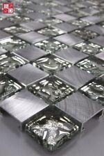 Glasmosaik Aluminium Mosaik gebürstet Mosaikfliesen Fliesen Glas 15x15cm Silber