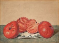 Antique Watercolor Painting Fruit Still Life TOMATOES Early 1900s Unsigned