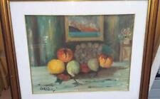 natura morta con frutta-olio su tela-firmato-still life-con cornice dorata-60x70