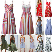 Women's Long Boho Floral Dress Summer Casual Party Evening Beach Dress Sundress