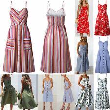 Women's Long Boho Floral Dress Summer Casual Party Evening Beach Dress Sundress