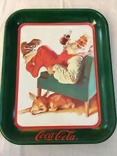Vintage Coca Cola Metal Tin Tray Santa with Deer 13 x 11 1989 Christmas Tray