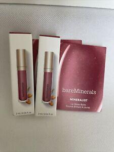 2x Bareminerals Mineralist Lip Gloss-Balm SINCERITY 0.06floz Each