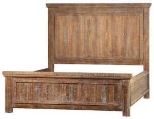 "86"" Carlo Queen Bed Solid Pine Hardwood Rustic Distressed reclaimed"