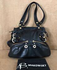 B Makowsky black leather tote hobo Bruce bag purse handbag hobo slouch dbl zip