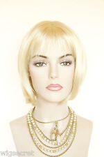 Short Straight Bob with Soft Bangs Blonde Brunette Red Straight Wigs