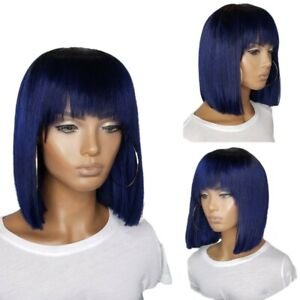 14inch No lace Machine made wigs with bangs Women Dark Blue Synthetic hair