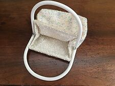 Vintage Lucite Reversible Bead Dot White One Side Pastels Other 1950's 60's