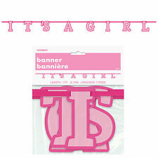 ITS A GIRL - Ribbon Banner, Baby Shower Party Girl, Pink Decorations Supplies