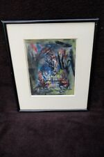 ORIGINAL ROGER QUILLERY FRENCH ABSTRACT MIXED PAINTING ON PAPER AFTER 1950's