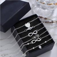 5Pcs/set Women Summer Ankle Bracelet Gold Silver Anklet Beach Foot Chain Jewelry