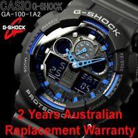 CASIO G-SHOCK MENS WATCH GA-100-1A2 BLACK x BLUE 2-YEARS WARRANTY GA-100-1A2DR