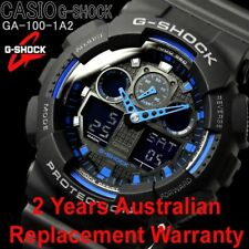 CASIO G-SHOCK MENS WATCH GA-100-1A2 BLACK x BLUE 2-YEARS WARRANTY GA-100-1A2DR