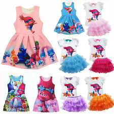 Kids Girls Poppy Trolls Dress Summer Princess Tutu Dress Casual Party Skirt 3-8Y