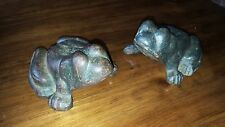 Pair of Old FROG Wagon Wheel Chocks door stops cast iron weight antique folk art