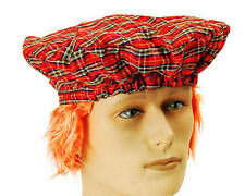Scots Tartan Hat Ginger Hair Attached Burns Night Scottish Fancy Dress P4885