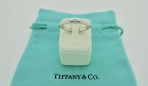 Authentic Tiffany & Co. Peretti Stacking Diamond Platinum Band Ring US4.5 $2,300