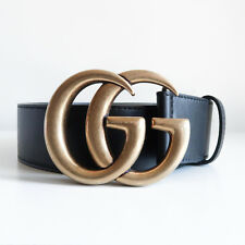 BN GUCCI 'leather belt with double g buckle' black marmont gold skinny thick 90