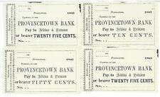Massachusetts Provincetown Bank 4 notes merchants scrip Bank Charter # 186