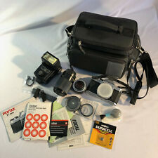 Pentax K1000 35mm SLR Film Camera, 2 Lens, Filters, Flash, Case, Extras Tested