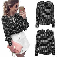 Women Polka Dot Long Sleeve Blouse OL Office Ladies Chiffon Casual Party Tops