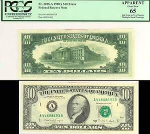 FR2028A VAR $10 W/ TRIPLE 1ST BACK PRINT MAJOR ERROR GRADED UNC PCGS 65 WLM1795