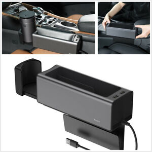 Car Deluxe Metal Armrest Console Organizer Storage Box Retractable Cup Holder X1